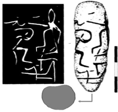 4: a) Tablet 1.1; b) negative on wax; c) the tree reconstruction. c Fig. VIIC.4d-e. Vitănești Măgura, seated character, after R. Andreescu 2009. Sign 1. Figure on throne.
