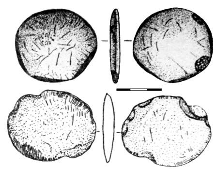 A pendant-tablet, with a hole for cord, has several engraved signs related with sacred numerology as well as others, similar with the ones from the Danube script (fig. VIIC.