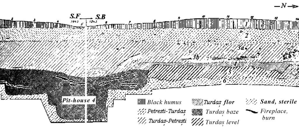 26 CHAPTER II Fig. II.13. Sections B, F, Pit-house (Bordeiul) B4, after K. Horedt 1949. One side of the pit-house was 2.2 m long while the household area and sleeping spaces were 6 m long.