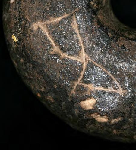 In the LBK II, coeval with Tărtăria (5400 5200 CAL BC), the sign under investigation is present on the head of a hum an figurine from Bad Naumheim Nieder-Mörlen (Germany) 1282.