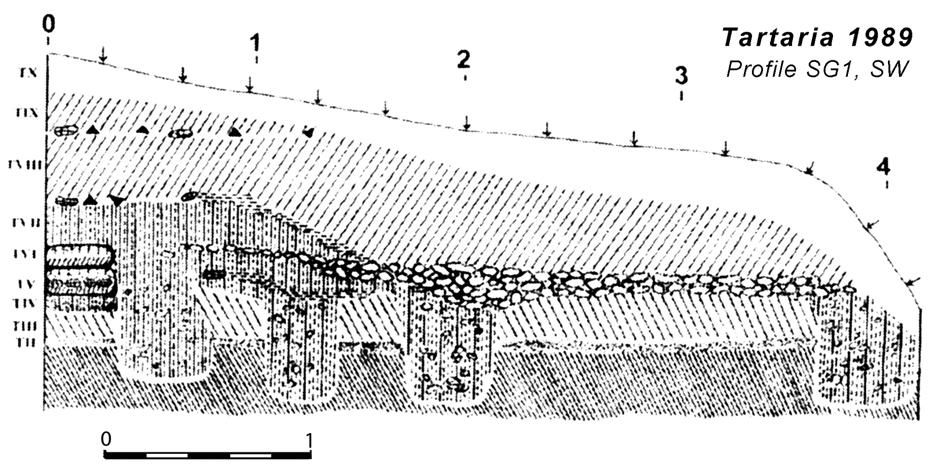 42 CHAPTER II Fig. II.31. Profile (gradient SG1) in the area of N. Vlassa s Surface G, after I. Paul 2007. Fig. II.32. I. Paul s profile with houses postholes.