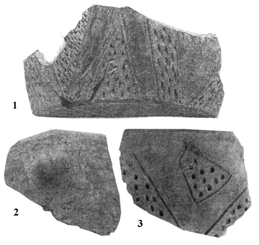 Because of its strong secondary firing it is not possible to attribute it to a specific stage (fig. IV.23). Another distinct fragment is a sort of a pan with a lobed lip (fig. IV.21.1).