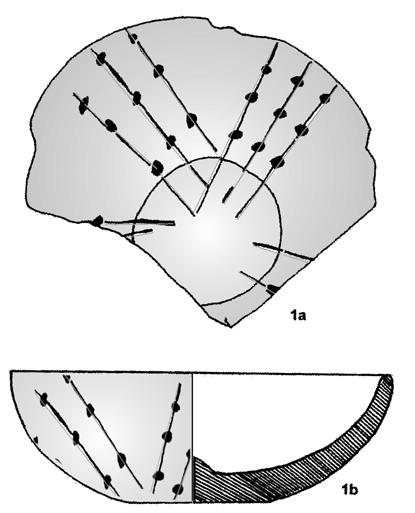 THE STUDY AND EVOLUTION OF TĂRTĂRIA POTTERY 83 Fig. IV.34. Tărtăria: a) fragmentary small pot from I. Paul s excavations; b) fragment decorated with musical notes from N. Vlassa s excavations.