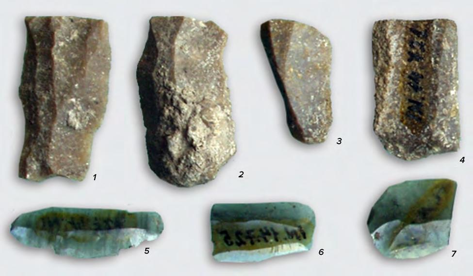 98 CHAPTER V A scraper shaped as a T (fig. V.1b), with encoches, used for making arrows has been discovered in N. Vlassa s Surface G, at 0.80 m.
