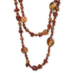 #AFMN605 Smoky quartz chip bead necklace,