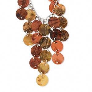 Necklace, mussel shell (dyed) with imitation rhodium, orange, 12mm coin, 18 inches with