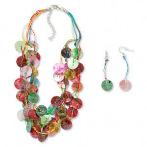 #AFMN608 Necklace and earring set, shell and cord, multi-color, buttons, 16 to 18-inches/2