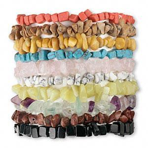 Bracelet mix, assorted gemstones (natural/dyed/manmade), 5-10mm chip,