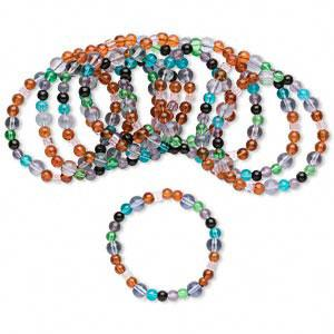#AFMN632 Bracelet mix, glass pearl, assorted light