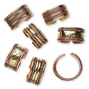 Copper and brass ring, medium-large, 9-11mm. 9 Pkg of 6.