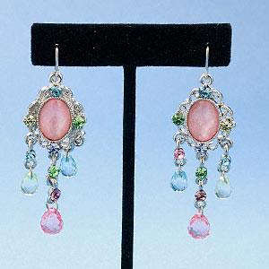 #AFME512 Earrings, silversilver-plated pewter with rhinestones,