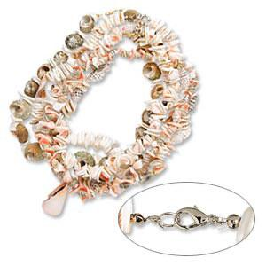 Necklace, mothermother-ofof-pearl (dyed) multimulti-colored, 15mm