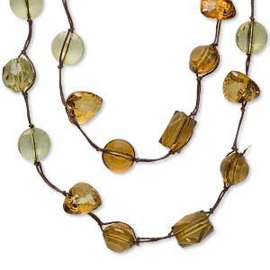 Necklace, cord and acrylic, goldenrod, 20-22mm, 22mm,