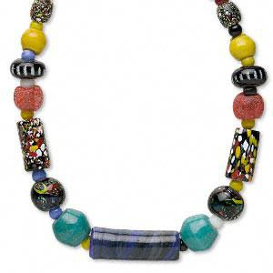 Sold per 18-inch necklace. One of a kind, beads will vary.