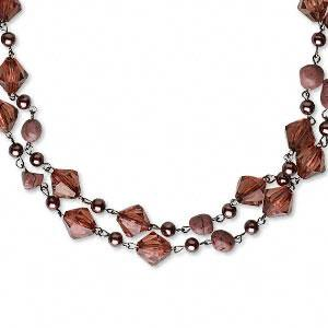 #AFMN556 Necklace, cord and wood beads, light brown,