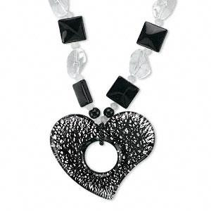 inches #AFMN579 Necklace, glass and imitation rhodium,