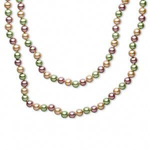 Necklace, glass pearl, multi-colored, knotted 8mm rounds.
