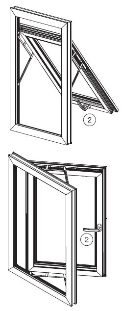 Out-Swing Window The sashs of out-swing windows may open vertically as well as horizontally, according to the chosen accessory.