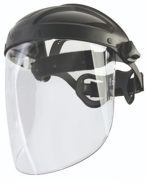 FACE SHIELDS S9500 with S9555 visor S8500 Uvex Turboshield Faceshield Patented head-cushioning suspension cradle Patent-pending push-button visor attachment and release system Toric-shaped visor