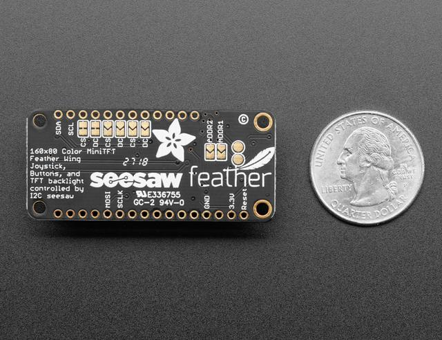 Thanks to seesaw the 7 user interface switches are managed over I2C so you don't need any extra GPIO pins to spare, this display will even work on low-pin-availability Feathers like the ESP8266.