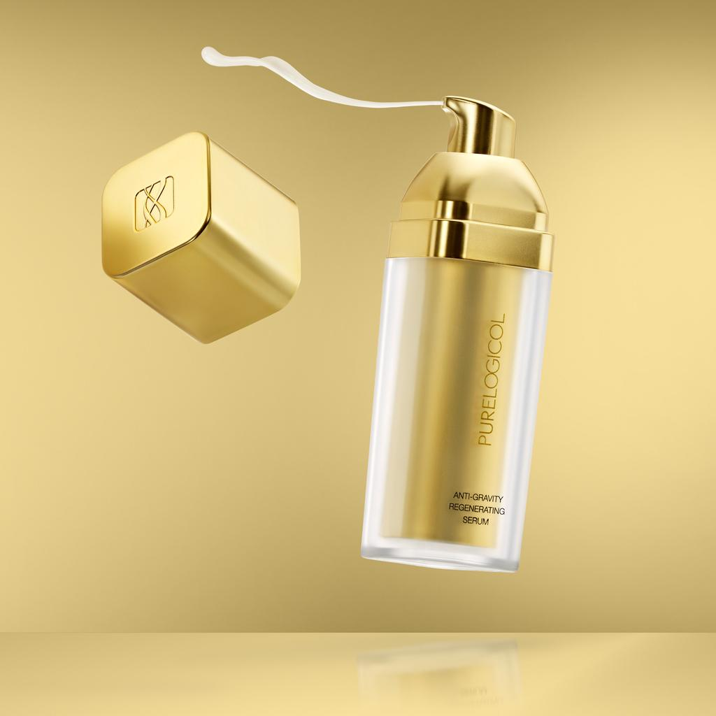 Anti-Gravity Regenerating Serum Defy gravity This silky serum contains gravity-control and micro-collagen peptides which help stimulate collagen and elastin synthesis to reduce wrinkles and improve