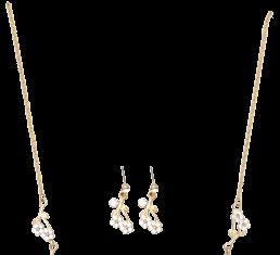 SET020 R229 PV200 Gold and Crystal Set NL078 R149 PV120 Glass and Bead Pendant on Gold Chain 39cm + 8cm ext NL014 R149