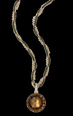 Chain and Leather Cord 39cm + 8cm ext GOLD
