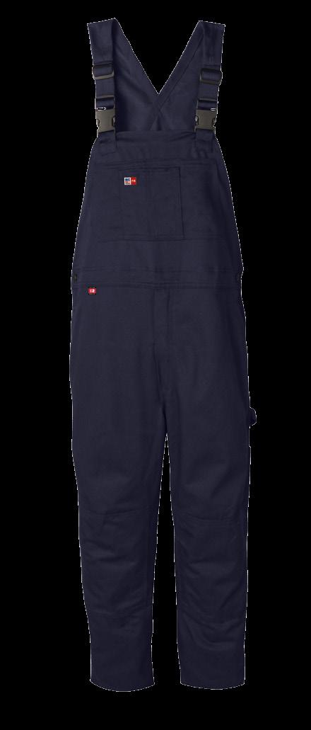 BIB OVERALL AVAILABLE IN 1 COLOR & 1 FABRIC MADE IN CANADA / ELASTIC SHOULDER STRAPS WITH ADJUSTABLE PLASTIC RELEASE BUCKLES / 2 LARGE