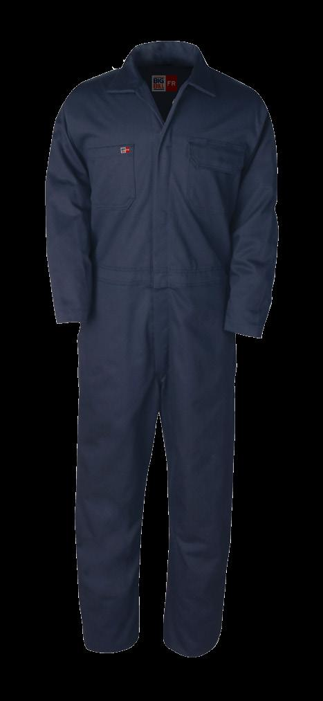 UNLINED WORK COVERALL AVAILABLE IN 2 COLORS & 1 FABRIC MADE IN CANADA / 2 HIDDEN SNAPS FRONT CLOSURE ON COLLAR / TWO-WAY CONCEALED NOMEX TAPED BRASS ZIPPER FRONT CLOSURE / 1 SNAP AT