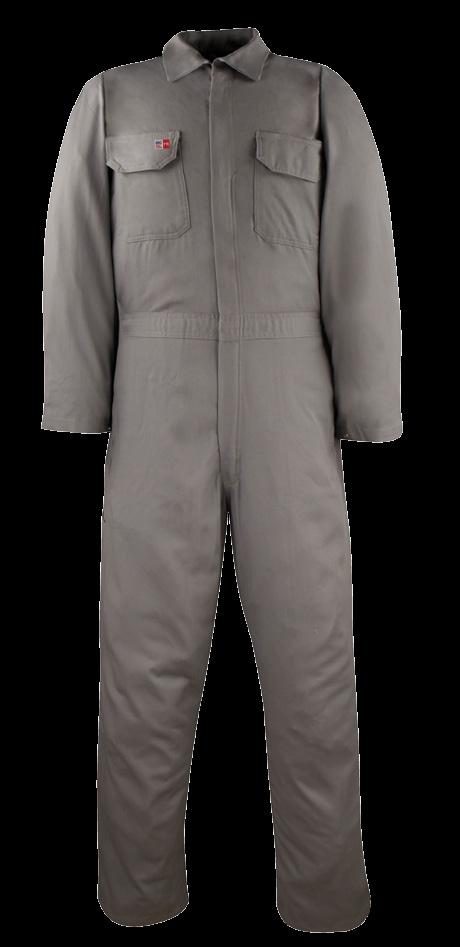 UNLINED WORK COVERALL AVAILABLE IN 1 COLOR & 1 FABRIC 2 HIDDEN SNAPS FRONT CLOSURE ON COLLAR / TWO-WAY CONCEALED NOMEX TAPED BRASS ZIPPER FRONT CLOSURE / 1 SNAP AT WAISTBAND ON