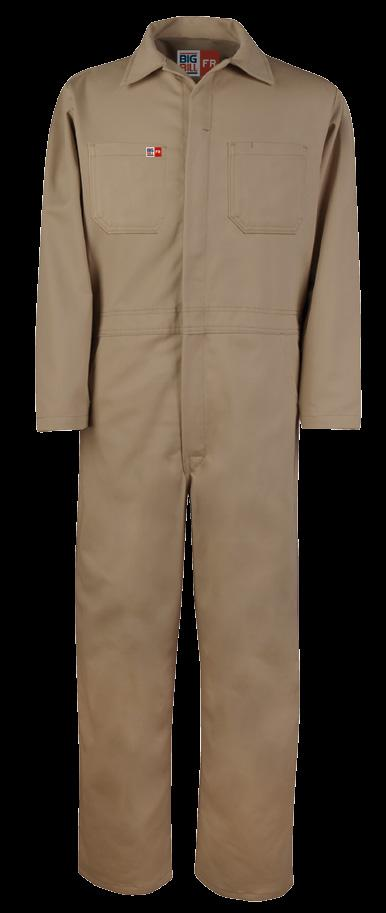UNLINED CONTRACTOR COVERALL AVAILABLE IN 2 COLORS & 2 FABRICS 2 HIDDEN SNAPS FRONT CLOSURE ON COLLAR / TWO-WAY CONCEALED NOMEX
