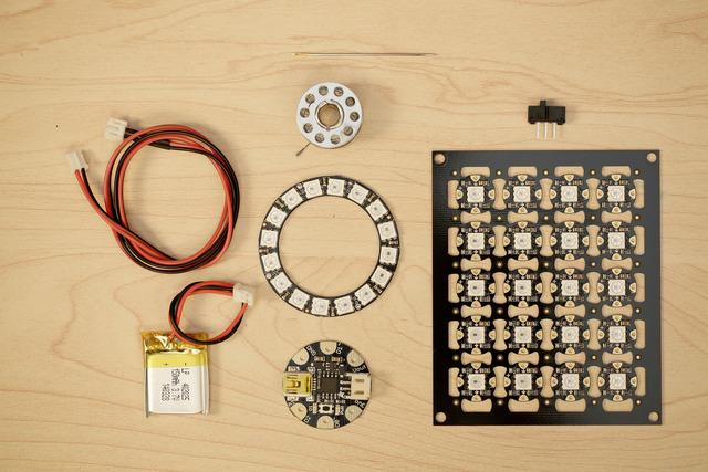 Parts & Components Most of the tools parts and supplies are available in our shop. Gemma (https://adafru.it/dub) NeoPixels (http://adafru.it/1559) NeoPixel Ring 16x (https://adafru.