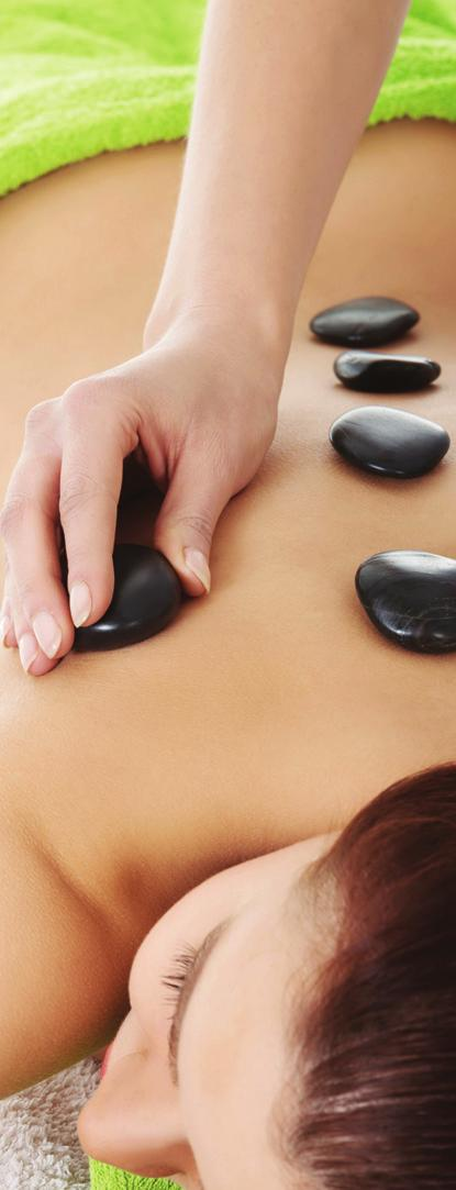 Stone Therapy Massage Using hot basalt, volcanic stones to deeply relax and detoxify, combined with skin brushing and aromatic oils. Full Body - 60 mins 40.00 Back and Shoulders - 30 mins 29.