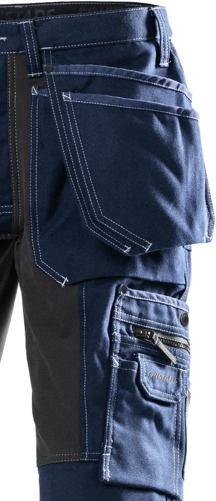 The back yoke and rear of the trousers, underneath the back pockets, are made of stretch material to give maximum mobility and comfort.