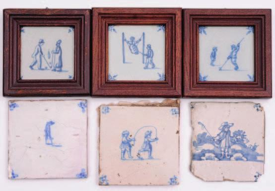 583. A mixed group of Dutch delft tiles painted in blue with figural subject matter including children s games, ball sports, fishing, archery, equestrian groups and others, 18th century and later,