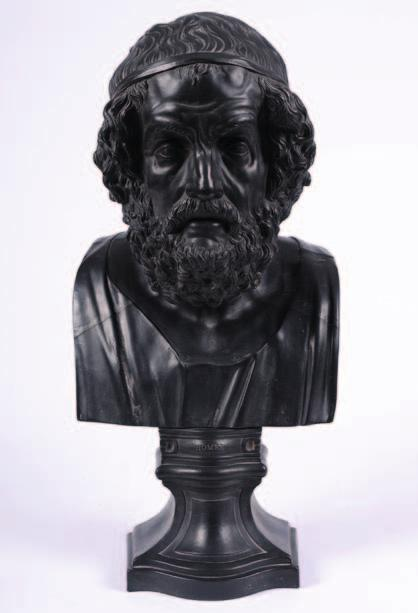 603. A large Wedgwood black basalt library bust of Homer modelled after the original by William Hackwood the elderly