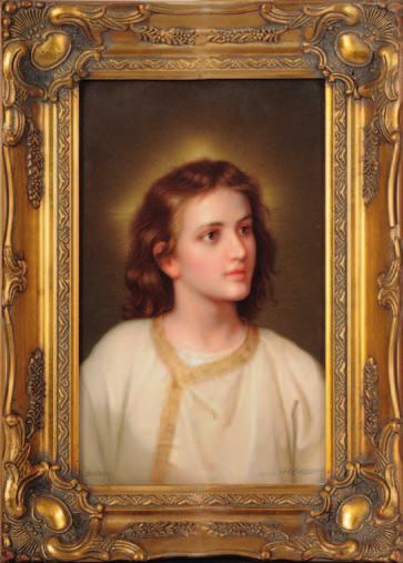 614 614. A K.P.M. Berlin porcelain plaque of rectangular form finely enamelled with a head and shoulders portrait of the young Christ, signed to base Dietreich... nach H. Hofmann, 24.