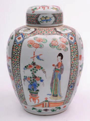 A Chinese porcelain oviform jar and domed cover enamelled in the famille verte palette