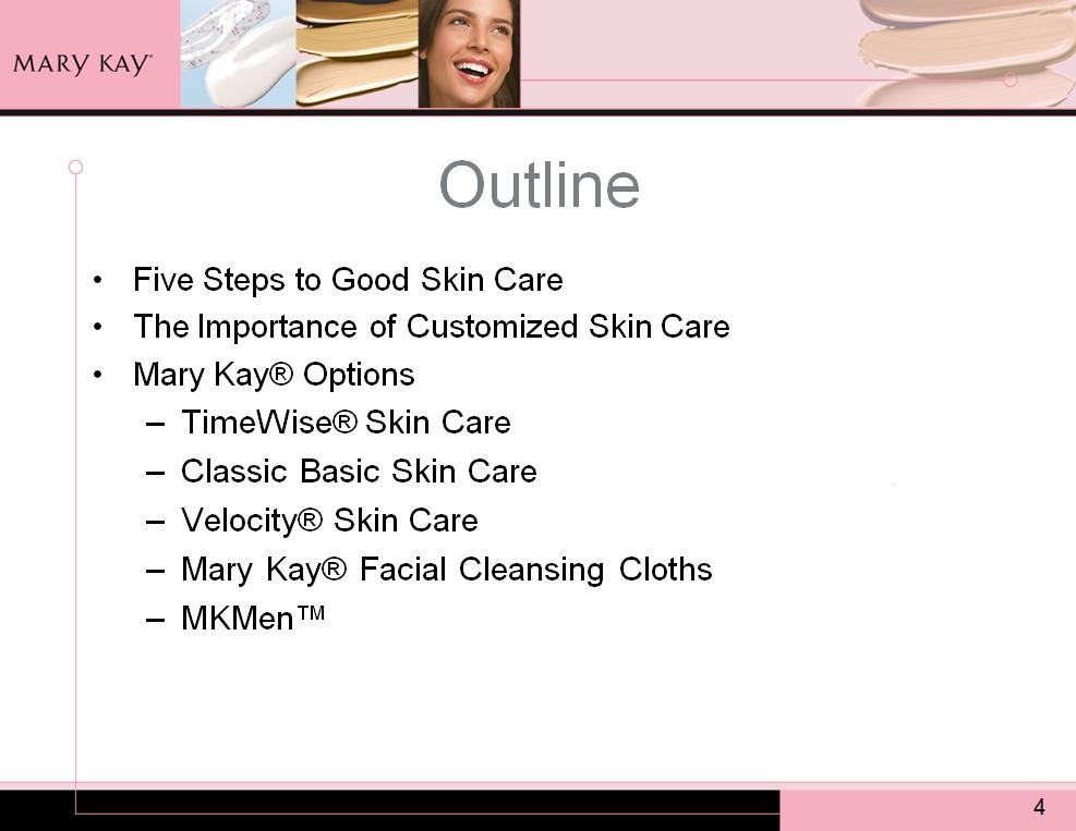In today s workshop, we will talk about: The five steps to good skin care. The importance of customized skin care.