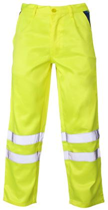 Conforms to EN ISO 20471 Class 1 2 bands of retro-reflective tape per leg Polyester/cotton fabric 2 front side pockets Back zipped pocket Back ruler pocket marshalling, driving, construction,
