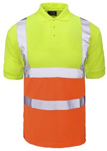 Conforms to EN ISO 20471 Class 2 (Yellow only) 100% polyester piqué fabric Ribbed collar and cuffs Three button placket