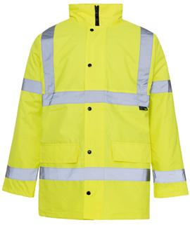 Conforms to EN ISO 20471 Class 3 Conforms to EN 343 Class 3:2 300D Oxford PU fabric Polyester quilted lining Heavy duty 2-way zip