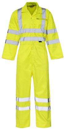 Conforms to EN ISO 20471 Class 3 Polyester/cotton fabric Concealed stud fastening 2 chest pockets 2 front thigh pockets Back vent for added comfort 53 Tasks with a hi-vis requirement construction