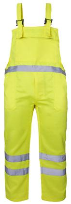 TROUSERS & JACKETS SHORTS HI VIS POLYCOTTON BIB TROUSERS Offering Class 1 hi-vis protection, our Hi Vis Polycotton Bib Trousers feature chest and side pockets making this garment both practical and