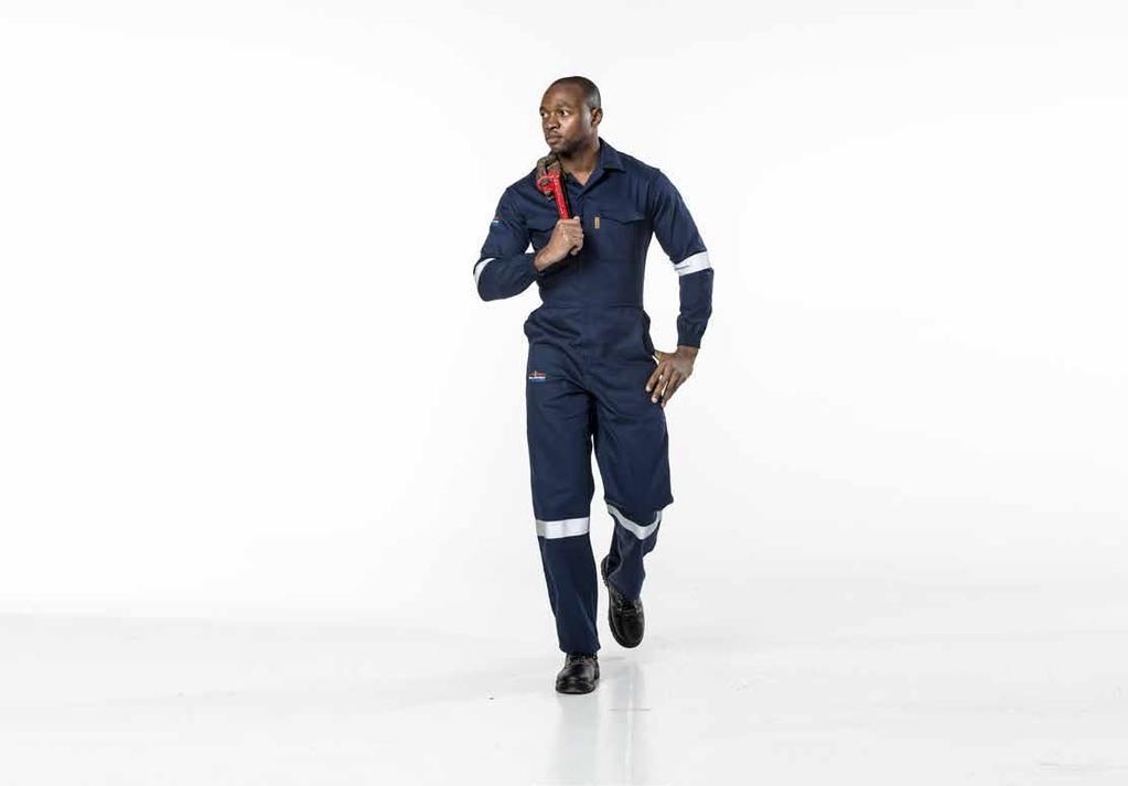 D59 FLAME & ACID boilersuit YKK concealed brass zips Fully triple stitched shoulders, arm holes, side seams, in-leg & back rise 50mm silver flame retardant double needle stitched reflective tape on