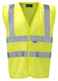 Conforms to EN471 Class 2 using fluorescent and retroflective materials. Reflective bands over shoulders and body. V neck.