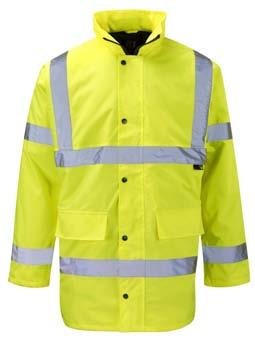 The wearer s safety is maximised by the use of both fluorescent and reflective materials, comfort is provided by the cosy quilted lining and fully waterproof outer.