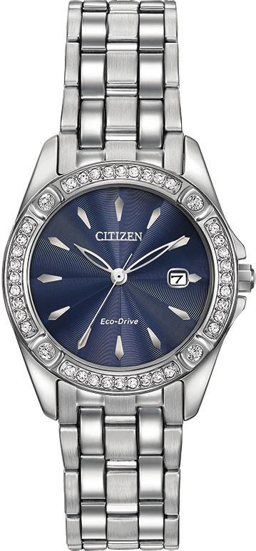 ECO-DRIVE EW23-54L EW2354-53P EW2352-59P EW23-54L Ladies steel case and bracelet, Swarovski crystal accents, blue dial, mineral crystal, 28mm case, fold over