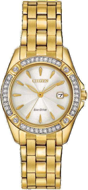 00 EW2354-53P Ladies Citizen Eco-Drive round dual-tone Swarovski crystal accents, champagne dial, mineral crystal, 28mm case, fold over clasp. EW2354-53P 375.