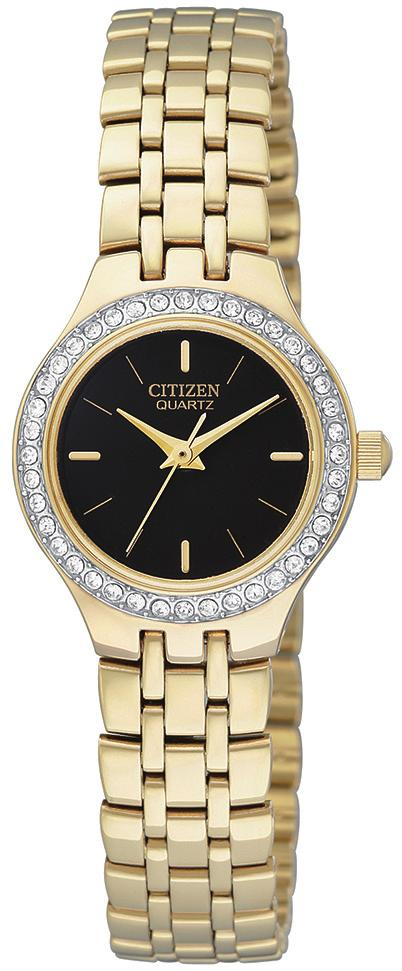 00 EU6032-51D Ladies Citizen Quartz round gold-tone mother-of-pearl dial, Swarovski crystal accented bezel,